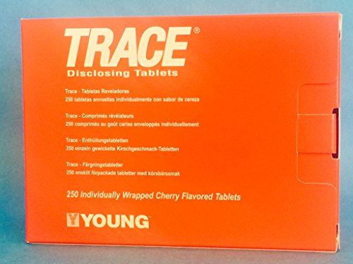 Trace Plaque Disclosing Tablets 1 Pack of 250 YOUNG DENTAL Cherry Flavor