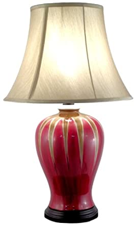 Large Ceramic Red And Gold Round Table Lamp Amazoncouk