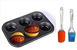 hpk branded 6 cubes multi baking pan molds Cake Bread baking cookies tools dish nonstick baking tray Bun cupcake maker with Spatula & Brush
