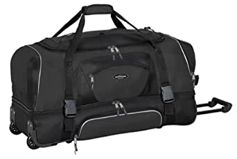 "Adventurer Duffel Collection- 30"" 2-Section Drop Bottom Rolling Duffel in Black"