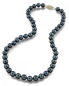 """14K Gold 7.0-7.5mm Japanese Akoya Black Cultured Pearl Necklace - AA+ Quality, 17"""" Princess Length"""