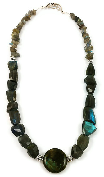Labradorite and Sterling Silver Statement Necklace