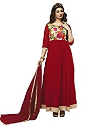 Madhav Fashion georgette Salwar Suit Dupatta Material in Red