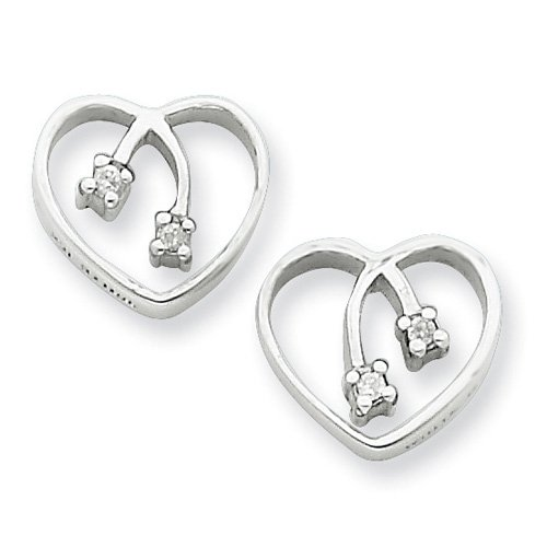 Sterling Silver White Ice .04ct Diamond Heart Earrings. Comes in a lovely Gift Box