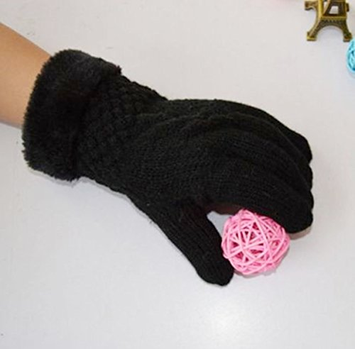 1-Pc (1 Pair) Lofty Chic Women's Mittens Warm Gloves Motorcycle Warming Ski Hand Cover Thermal Decor Colors Black