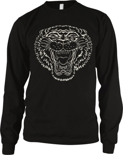 Growling Tiger Mens Tattoo Thermal Shirt, Old School Tiger Tattoo Style Design Mens Long Sleeve Thermal, Medium, Black