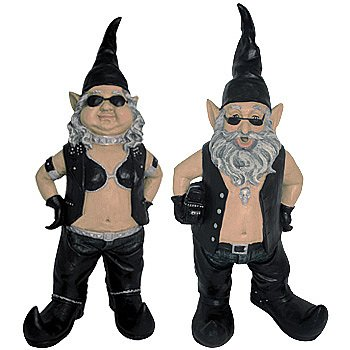 Biker Garden Gnomes - Outdoor Yard & Garden Sculptures (Set of 2)