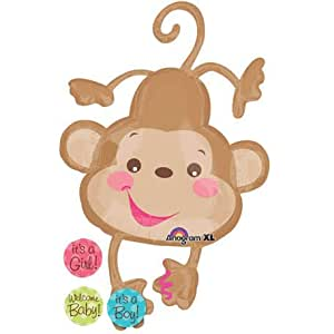 """Official Costumes Fisher Price Monkey Its a Boy or Girl Welcome Baby 40"""" Shower Mylar Balloon"""