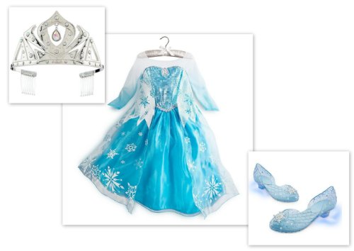 Disney Store Frozen Elsa Costume Dress 7/8, Tiara Crown & Light Up Shoes 13/1