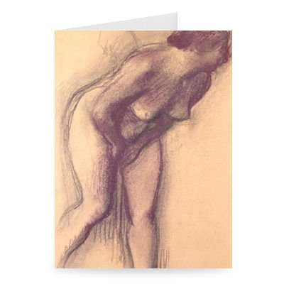 Female Standing Nude (charcoal and pastel) by Edgar Degas - Greeting Card (Pack of 2) - 7x5 inch - Art247 - Standard Size - Pack Of 2