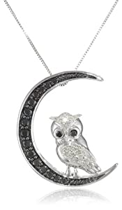 "10k White Gold Black and White Diamond Owl Pendant Necklace (1/2 cttw, I-J Color, I2-I3 Clarity), 18"" from Amazon Curated Collection"