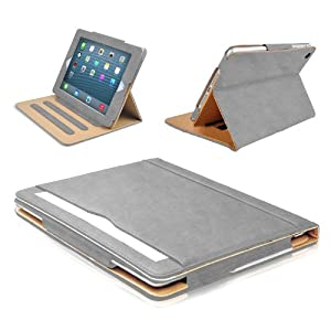 MOFRED® Grey & Tan Apple iPad Air-5th Generation (2013-2014 Model) Leather Case-MOFRED®- Executive Multi Function Leather Standby Case for Apple iPad Air with Built-in magnet for Sleep & Awake Feature + Screen Protector + Stylus Pen (Available in Variety of Colors)