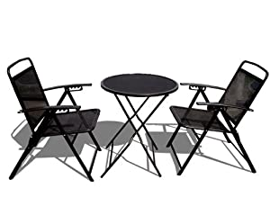 STRONG CAMEL Bistro set Patio Set Table and Chairs Outdoor Wrought Iron CAFE set METAL-Black