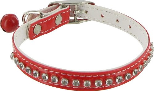 Hollywood Rhinestone Dog or Cat Collar with Bell - Red, 3/8