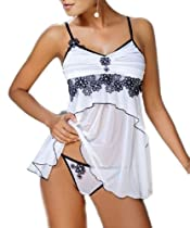 iB-iP Womens Dimensional Flowers Embellished Mesh Baby Dolls Lingerie, White