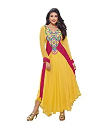 Monalisa Fabrics Women's Unstitched Dress Material (2251131_Yellow _Free Size)