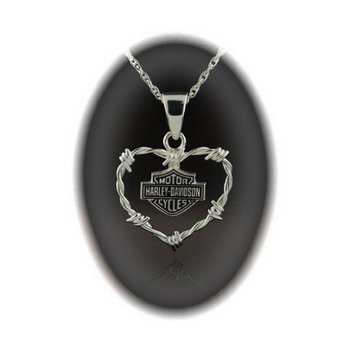 Harley-Davidson® Stamper® Women's Sterling Silver Heart Necklace. HN7461