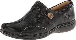 Clarks Unstructured Women\'s Un.Loop Slip-On,Black Leather,10 M US
