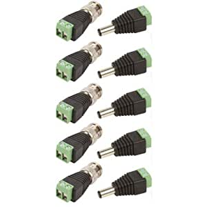 buy pnpbazaar set of 5 pc each bnc connectors screw type green and dc connectors screw type. Black Bedroom Furniture Sets. Home Design Ideas