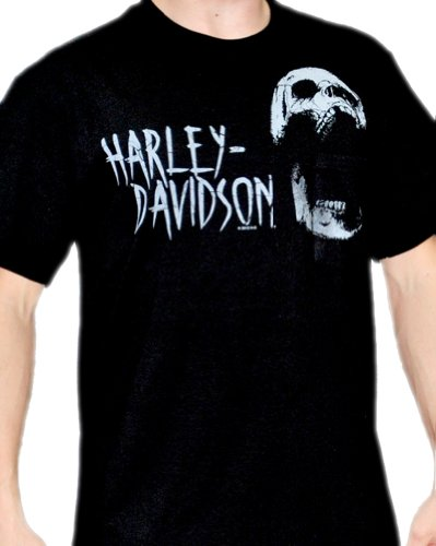 Harley-Davidson Mens Yell H-D Skull Black Pocket Cotton Short Sleeve T-Shirt (X-Large)