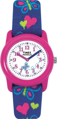 Timex Kids' T89001 Hearts and Butterflies Stretch Band Watch