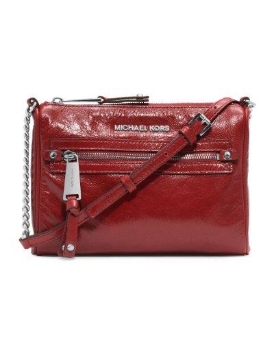 Michael Kors Devon Sm Messenger Crossbody Bag Red Leather