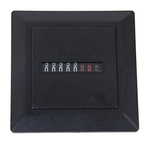 Sodial(R) Ac 220-240V Square Non-Resettable Quartz Sealed Hour Meter Gauge