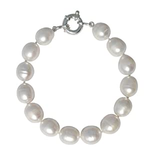 Pearls Paradise - Stunning Cultured Freshwater Large 10-11mm White Oval Shape Baroque Pearl bracelet with a silver clasp, presented in an attractive satin silk pouch with a gift card
