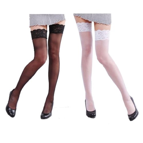 SACAS Sexy Thigh High Black or White Sheer Tights Lace Top Tights XS ~ M