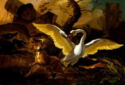Hondius A Swan Enraged Art Print Poster - 13x19