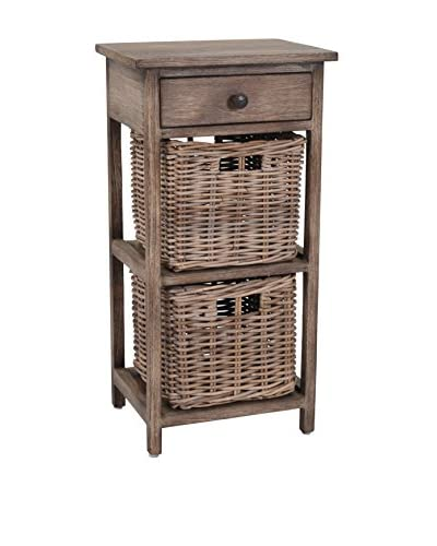 Jeffan Baker Side Table with 1 Drawer & 2 Baskets, Natural