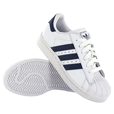 Adidas Superstar II C White Navy Leather Kids Trainers Shoes on PopScreen d9b7819df