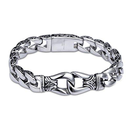 """YSM Vintage catena bracciale 8.66""""Catena in acciaio inox 316L, lunghezza 220mm 11mm larghezza retro braccialetto bracciale maschile (Argento)"""