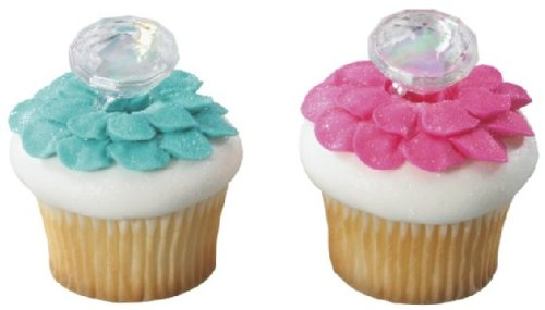 Diamond Wedding Rings Cupcake Toppers - 12 Cupcake Rings