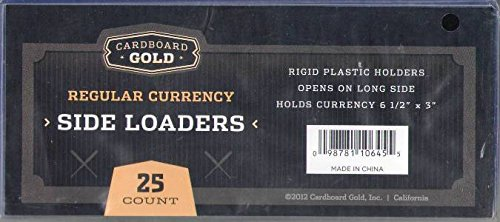 1pk (25) Cardboard Gold Regular CURRENCY PRO Toploaders KEEPS Dollar Bill Sized items ULTRA PROTECTED - 1