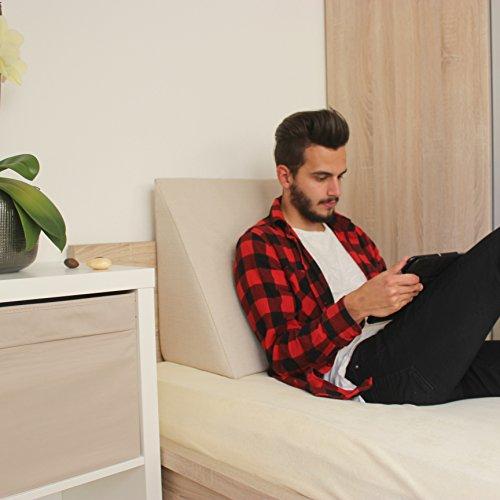 Keilkissen-Rckensttze-fr-Bett-Couch-Fernsehen-und-Tablet-Relaxkissen-Lesekissen-Gre-60cm-x-50cm-Hhe-30cm-wei