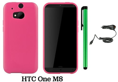 Htc One (M8) Solid Plain Color Tpu Protector Back Cover Case (2014 Q1 Released; Carrier: Verizon, At&T, T-Mobile, Sprint) + Car Charger + 1 Of New Assorted Color Metal Stylus Touch Screen Pen (Pink)