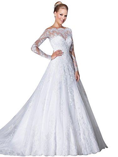 VERNASSA A-line Bridal Dresses Long Sleeves Off the Shoulder Lace Wedding Dre...