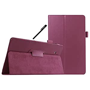 Galaxy Tab E 8.0 Case, OEAGO Samsung Galaxy Tab E 8.0 Inch Case Cover Accessories - PU Leather Stand Folio Case Cover For Samsung Galaxy Tab E 8.0'' - Purple