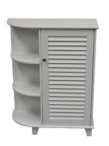 Ellsworth Floor Cabinet W/Side Shelves - White