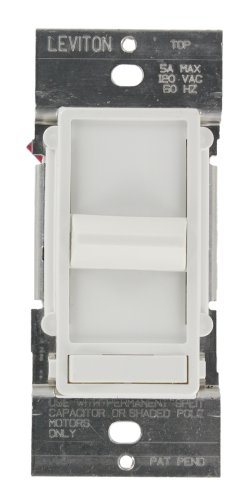 Leviton 6637-PW SureSlide 5A Preset Full Range Fan Speed Control, Single Pole or 3-Way, White