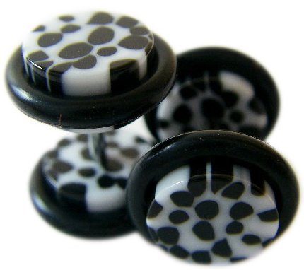 Body Jewelry - Simulated Faux Plug Earrings - White and Black Cheetah Spots Pair
