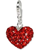SilberDream scintillement bijoux - Charm Cœur ardent - Femme - Argent 925/1000 - Cristaux Swarovski rouge shiny - scintillement Charms - GSC304