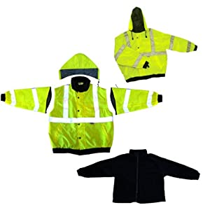 Global Glove Global GLO-B1 Polyurethane Class 3 Five in One Winter Jacket with 3M Scotchlite Reflective and Removable Fleece, Large at Sears.com