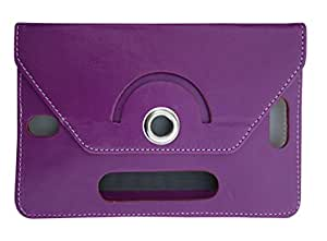 Fastway Rotating 360Deg Leather Flip Stand Cover For HCL Me Tablet U1 -Purple
