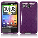 HTC Inspire 4G/ Desire HD Rubber TPU Skin Case/ Protector - Purple Circle