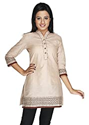 Ecostyle Women's Cotton Kurti (EPKS01_Beige_Medium)