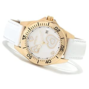 Invicta Womens Pro Diver Wildflower Crystal Hearts Gold Tone Watch SET w/ 7 Bands 14595