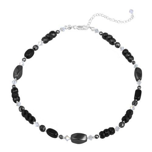 Sterling Silver Black and White Stone Bead Necklace, 16+3