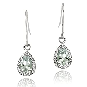 Sterling Silver 2.5ct Green Amethyst & Diamond Accent Teardrop Dangle Earrings